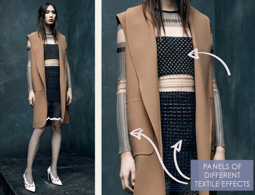 Textile and Pattern Details at Alexander Wang | The Cutting Class. Alexander Wang, PF15, Image 2. Panels of different textile effects.