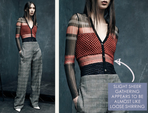 Textile and Pattern Details at Alexander Wang | The Cutting Class. Alexander Wang, PF15, Image 3. Slight sheer gathering appears to be almost like loose shirring.