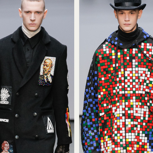 Pixelated Faces Play with Scale at KTZ | The Cutting Class. KTZ (Kokon To Zai), Menswear, AW15, London.