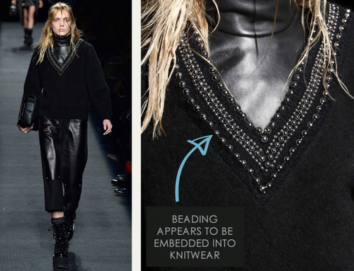 Beaded Trim at Alexander Wang | The Cutting Class. Alexander Wang, AW15, New York, Image 9. Beading appears to be embedded into knitwear.