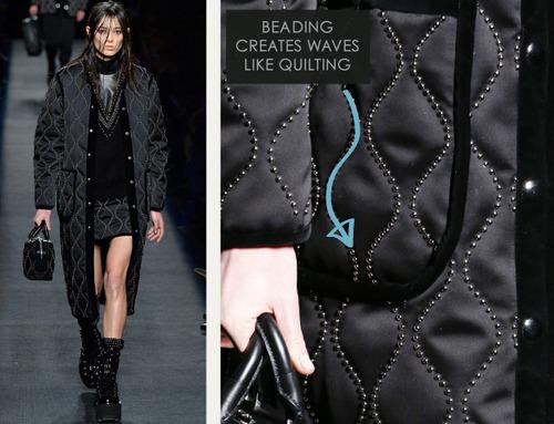 Beaded Trim at Alexander Wang | The Cutting Class. Alexander Wang, AW15, New York, Image 10. Beading creates waves like quilting.