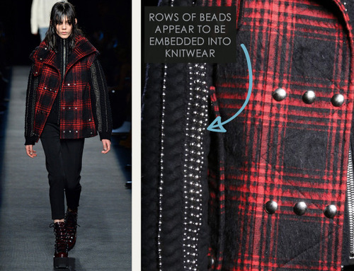 Beaded Trim at Alexander Wang | The Cutting Class. Alexander Wang, AW15, New York, Image 11. Rows of beaded trim appear to be embedded into knitwear.
