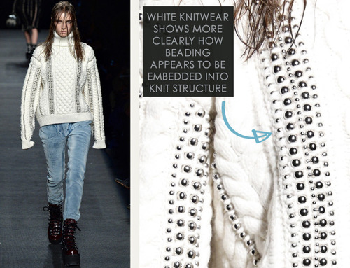 Beaded Trim at Alexander Wang | The Cutting Class. Alexander Wang, AW15, New York, Image 13. Beading embedded in knit structure.