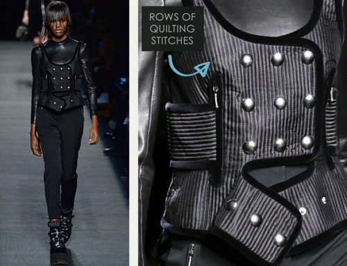 Beaded Trim at Alexander Wang | The Cutting Class. Alexander Wang, AW15, New York, Image 16. Rows of quilting stitches.