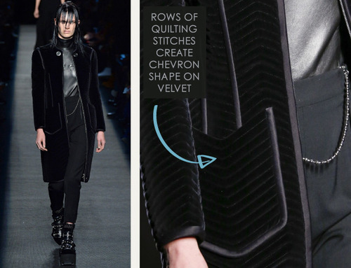 Beaded Trim at Alexander Wang | The Cutting Class. Alexander Wang, AW15, New York, Image 17. Rows of quilting stitches create chevron shape on velvet.