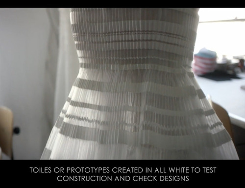 Ribboned Pleats at Dior Haute Couture | The Cutting Class. Christian Dior, Haute Couture, SS15, Paris, Video Still 2. Toiles created in all white to test construction.