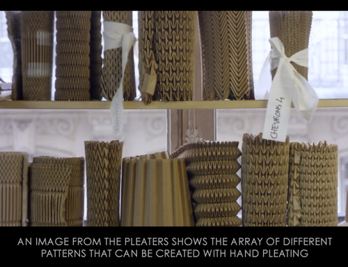 Ribboned Pleats at Dior Haute Couture | The Cutting Class. Christian Dior, Haute Couture, SS15, Paris, Video Still 9. Patterns for hand pleating.