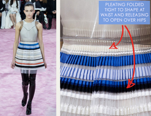 Ribboned Pleats at Dior Haute Couture | The Cutting Class. Christian Dior, Haute Couture, SS15, Paris, Image 2. Pleating folded tight to shape at waist and releasing open over hips.
