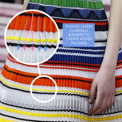 Ribboned Pleats at Dior Haute Couture | The Cutting Class. Christian Dior, Haute Couture, SS15, Paris, Image 4. Pleated layers carefully blended to create added fullness.