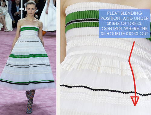 Ribboned Pleats at Dior Haute Couture | The Cutting Class. Christian Dior, Haute Couture, SS15, Paris, Image 8. Pleat blending position, and underskirts of dress, control where the silhouette kicks out.