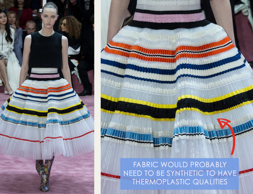 Ribboned Pleats at Dior Haute Couture | The Cutting Class. Christian Dior, Haute Couture, SS15, Paris, Image 10. Fabric would probably need to be synthetic for thermoplastic qualities.