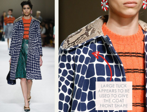 Clashing Patterns and Collar Details at Miu Miu | The Cutting Class. Miu Miu, AW15, Paris, Image 7. Large tuck appears to be used to give the coat front shape.