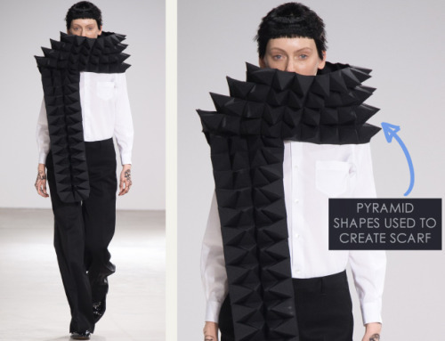 Honeycomb Pattern Structures at Junya Watanabe | The Cutting Class. Junya Watanabe, AW15, Paris, Image 3. Pyramid shapes used to create scarf.