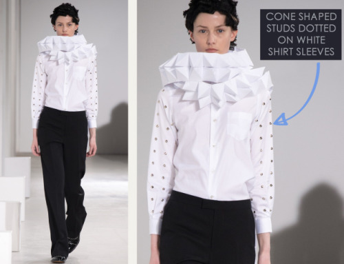 Honeycomb Pattern Structures at Junya Watanabe | The Cutting Class. Junya Watanabe, AW15, Paris, Image 5. Cone shaped studs on white shirt sleeves.