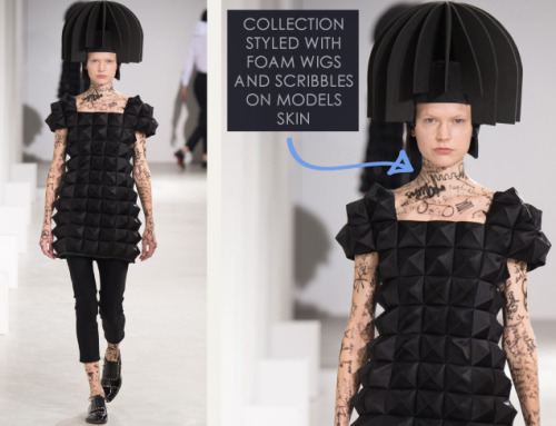 Honeycomb Pattern Structures at Junya Watanabe | The Cutting Class. Junya Watanabe, AW15, Paris, Image 6. Collection styled with foam wigs and scribbles on models skin.