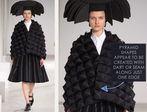 Honeycomb Pattern Structures at Junya Watanabe | The Cutting Class. Junya Watanabe, AW15, Paris, Image 7. Pyramid shapes appear to be created with dart or seam along just one edge.