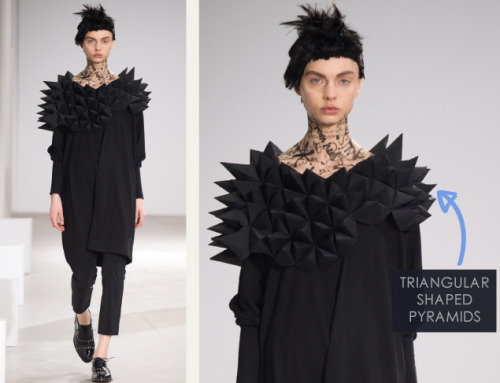 Honeycomb Pattern Structures at Junya Watanabe | The Cutting Class. Junya Watanabe, AW15, Paris, Image 8. Triangular shaped pyramids.