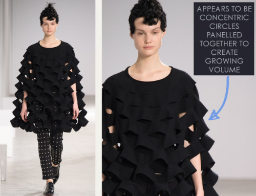 Honeycomb Pattern Structures at Junya Watanabe | The Cutting Class. Junya Watanabe, AW15, Paris, Image 10. Appears to be concentric circles panelled together to create growing volume.