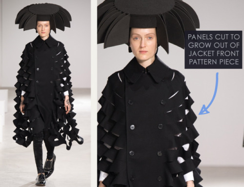 Honeycomb Pattern Structures at Junya Watanabe | The Cutting Class. Junya Watanabe, AW15, Paris, Image 11. Panels cut to grow out of jacket front pattern piece.