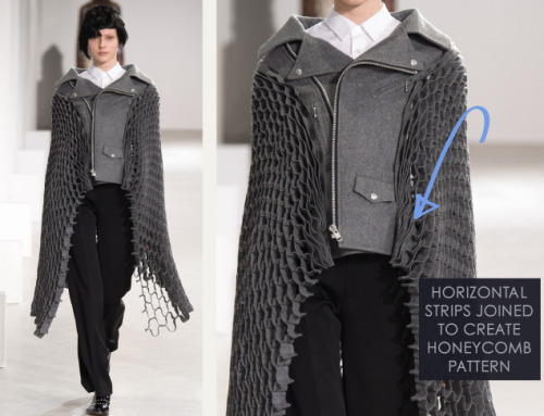 Honeycomb Pattern Structures at Junya Watanabe | The Cutting Class. Junya Watanabe, AW15, Paris, Image 17. Horizontal strips joined to create honeycomb pattern.