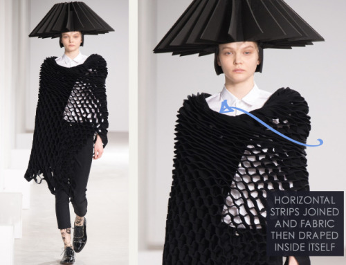 Honeycomb Pattern Structures at Junya Watanabe | The Cutting Class. Junya Watanabe, AW15, Paris, Image 18. Horizontal strips joined and fabric then draped inside itself.