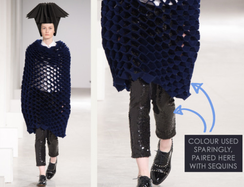 Honeycomb Pattern Structures at Junya Watanabe | The Cutting Class. Junya Watanabe, AW15, Paris, Image 19. Colour used sparingly and paired here with sequins.