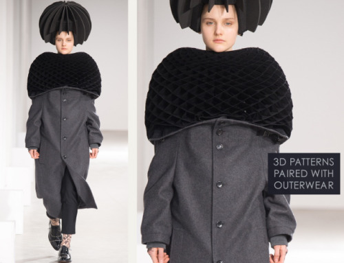 Honeycomb Pattern Structures at Junya Watanabe | The Cutting Class. Junya Watanabe, AW15, Paris, Image 20. 3D patterns paired with outerwear.
