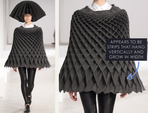 Honeycomb Pattern Structures at Junya Watanabe | The Cutting Class. Junya Watanabe, AW15, Paris, Image 22. Appears to be strips that hang vertically and grow in width.
