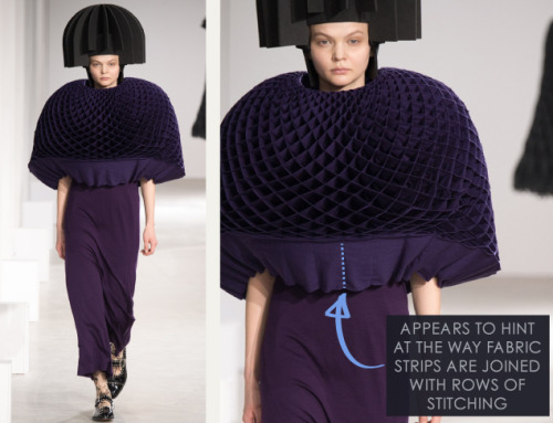 Honeycomb Pattern Structures at Junya Watanabe | The Cutting Class. Junya Watanabe, AW15, Paris, Image 24. Appears to hint at the way fabric strips are joined with rows of stitching.