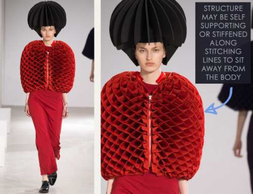 Honeycomb Pattern Structures at Junya Watanabe | The Cutting Class. Junya Watanabe, AW15, Paris, Image 27. Structure may be self supporting or stiffened along stitching lines to sit away from the body.