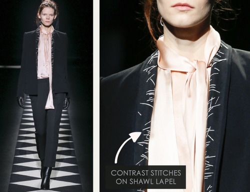 Contrast Stitching at Haider Ackermann | The Cutting Class. Haider Ackermann, AW15, Paris, Image 7. Contrast stitches on shawl lapel.