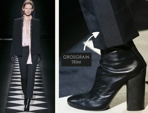 Contrast Stitching at Haider Ackermann | The Cutting Class. Haider Ackermann, AW15, Paris, Image 8. Grosgrain trim references classic tuxedo trousers.