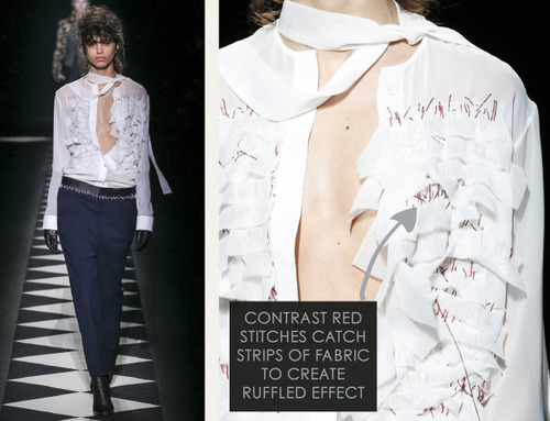 Contrast Stitching at Haider Ackermann | The Cutting Class. Haider Ackermann, AW15, Paris, Image 11. Contrast red stitches catch strips of fabric to create ruffled effect.