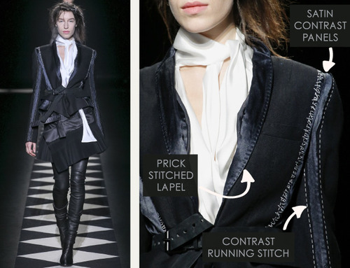 Contrast Stitching at Haider Ackermann | The Cutting Class. Haider Ackermann, AW15, Paris, Image 14. Prick stitched lapel, satin contrast panels, contrast running stitch.