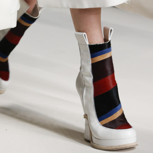 Bar Tacks and Blocky Panels at Fendi | The Cutting Class. Fendi, AW15, Milan, Image 3. Panelled shoes.