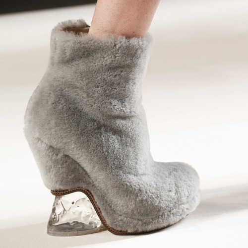 Bar Tacks and Blocky Panels at Fendi | The Cutting Class. Fendi, AW15, Milan, Image 5. Furry shoes with clear heels.