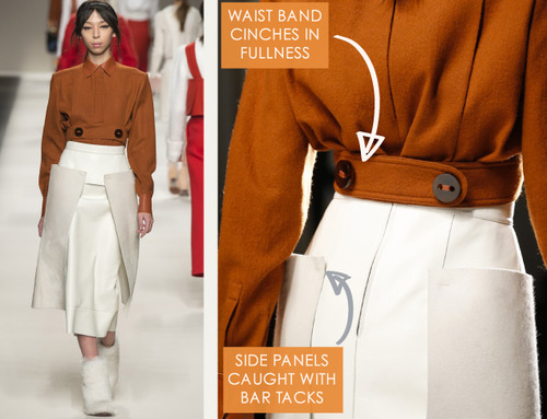 Bar Tacks and Blocky Panels at Fendi | The Cutting Class. Fendi, AW15, Milan, Image 7. Waistband cinches in fullness.
