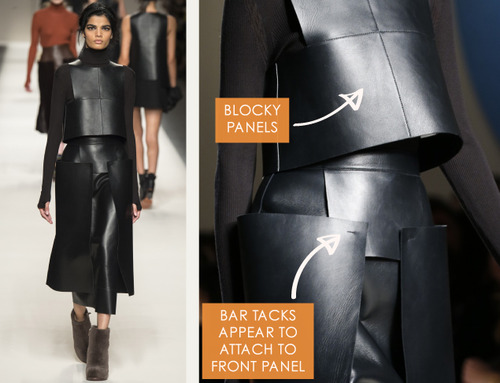 Bar Tacks and Blocky Panels at Fendi | The Cutting Class. Fendi, AW15, Milan, Image 12. Blocky panels in leather.