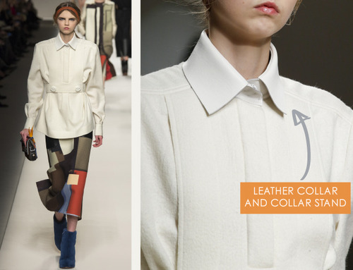 iBar Tacks and Blocky Panels at Fendi | The Cutting Class. Fendi, AW15, Milan, Image 16. Leather collar and collar stand.