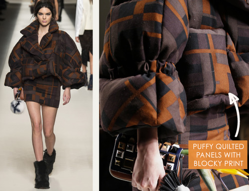Bar Tacks and Blocky Panels at Fendi | The Cutting Class. Fendi, AW15, Milan, Image 19. Puffy quilted panels with blocky print.