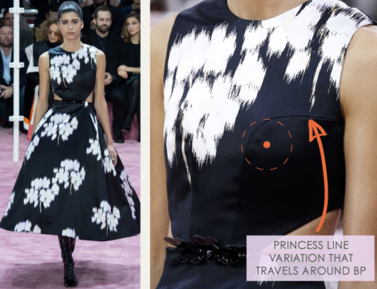 Bust Shaping with Panel Lines at Dior | The Cutting Class. Christian Dior, SS15, Haute Couture, Paris, Image 1. Princess line variation that travels around bust point.