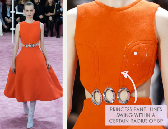 Bust Shaping with Panel Lines at Dior | The Cutting Class. Christian Dior, SS15, Haute Couture, Paris, Image 2. Princess panel lines swing within a certain radius of bust point.