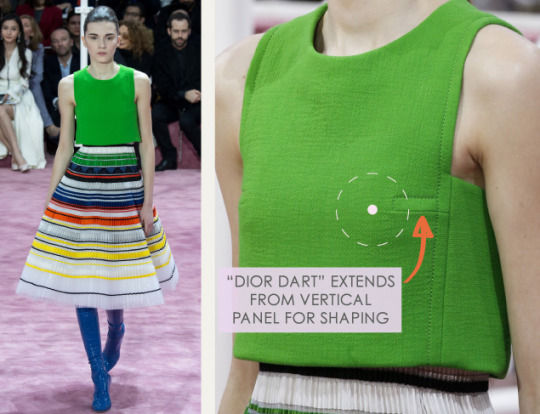 Bust Shaping with Panel Lines at Dior | The Cutting Class. Christian Dior, SS15, Haute Couture, Paris, Image 4. Dior dart extends from vertical panel for shaping.