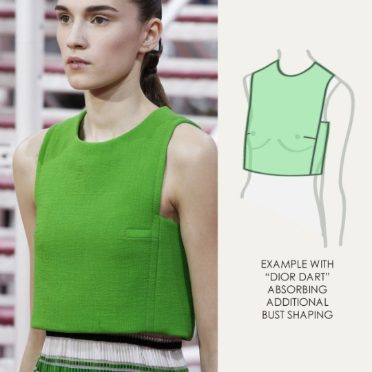 Bust Shaping with Panel Lines at Dior | The Cutting Class. Christian Dior, SS15, Haute Couture, Paris, Image 5. Dior dart absorbs additional bust shaping.