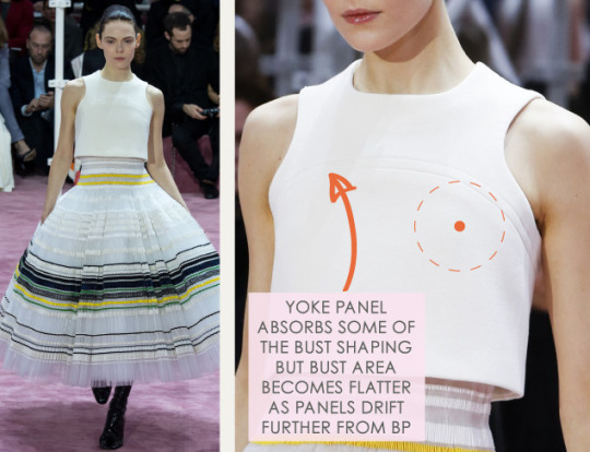 Bust Shaping with Panel Lines at Dior | The Cutting Class. Christian Dior, SS15, Haute Couture, Paris, Image 8. Yoke panel absorbs some of the bust shaping, but bust area is flatter as panels drift from bust point.