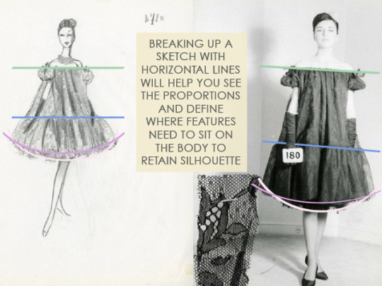Translating Designs from Sketches: Gravity and Proportion   The Cutting Class. Horizontal lines help to analyse the proportions of the design to be preserved in the pattern and toile.