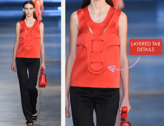 Life Drawing at Christopher Kane | The Cutting Class. Christopher Kane, AW15, London, Image 9. Layered tab details.
