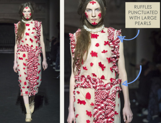 Ruffles and Gathering at Simone Rocha   The Cutting Class. Simone Rocha, AW15, London, Image 8. Ruffles punctuated with large pearls.