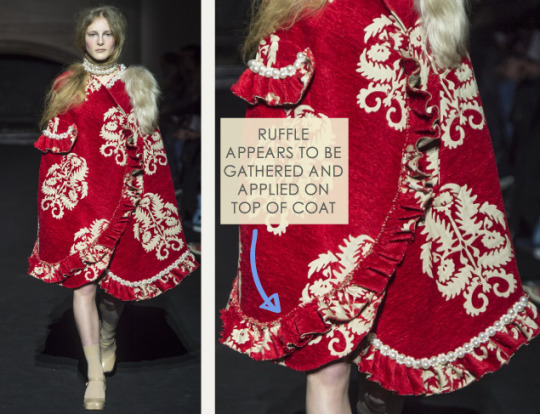 Ruffles and Gathering at Simone Rocha | The Cutting Class. Simone Rocha, AW15, London, Image 12. Ruffle appears to be gathered and applied on top of coat.
