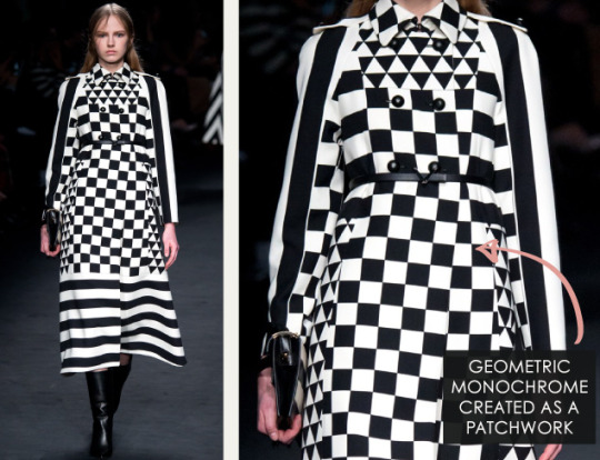 Geometric Monochrome at Valentino |The Cutting Class. Valentino, AW15, Paris, Image 1. Geometric monochrome created as a patchwork.
